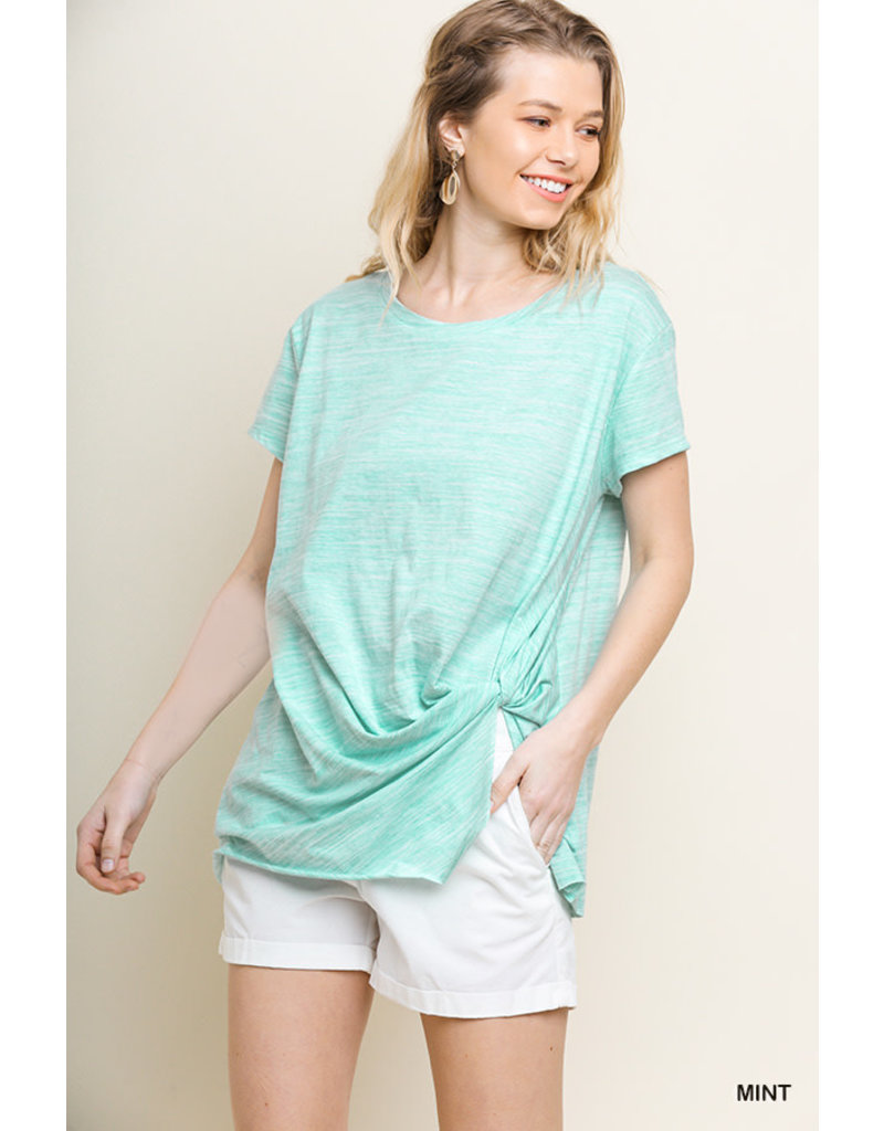 Heathered Top With Knot Front