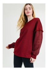 Pullover Top With Lace Long Sleeves