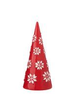 """9"""" Red Ceramic Nordic Cone Tree"""