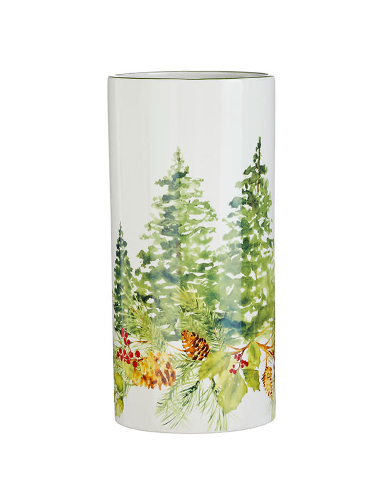 "12"" Pinecone & Holly Vase"
