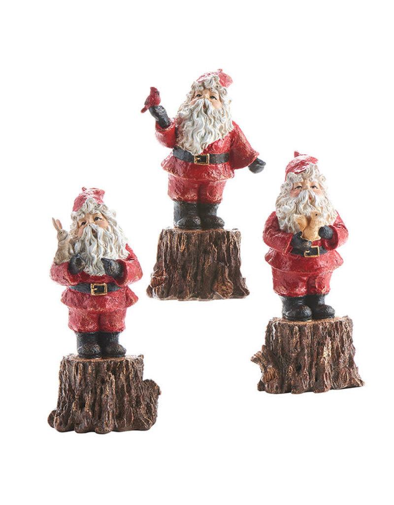 Santa on Tree Stump Figurine