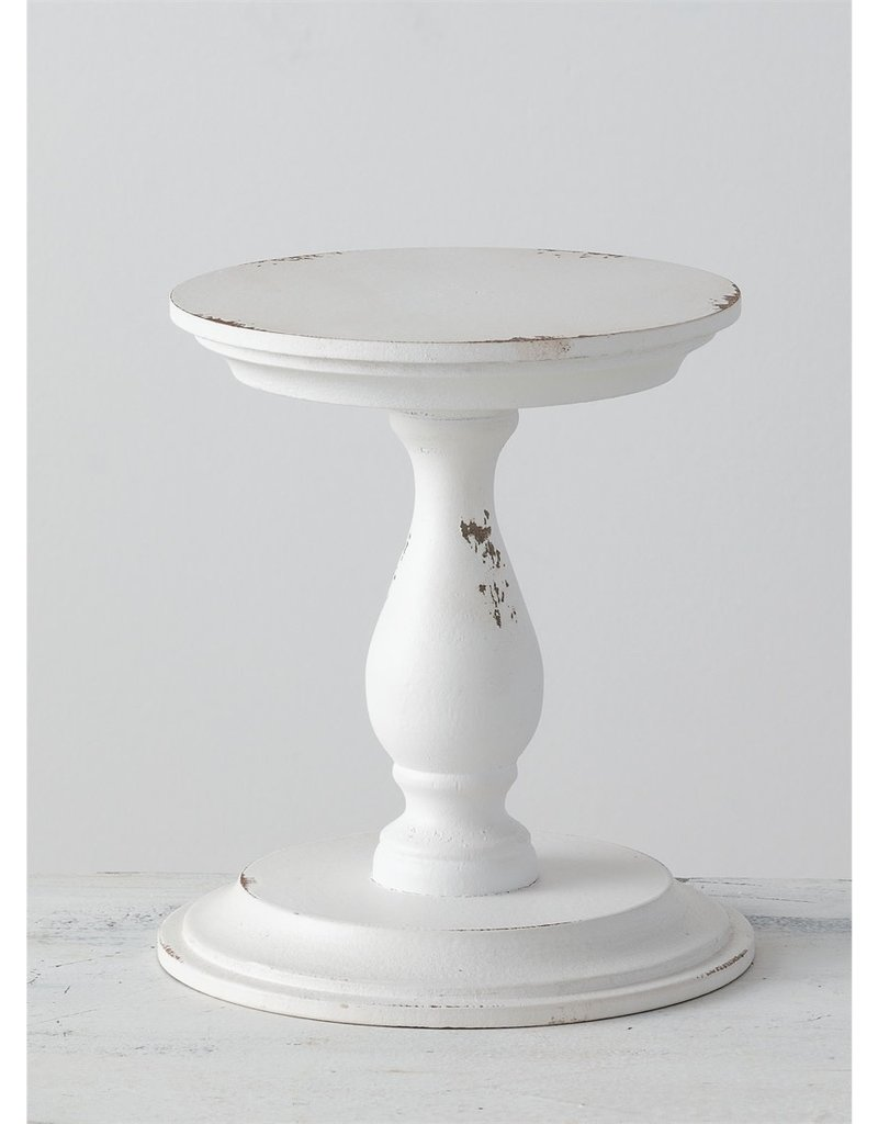 Tall Distressed Wooden White Stand