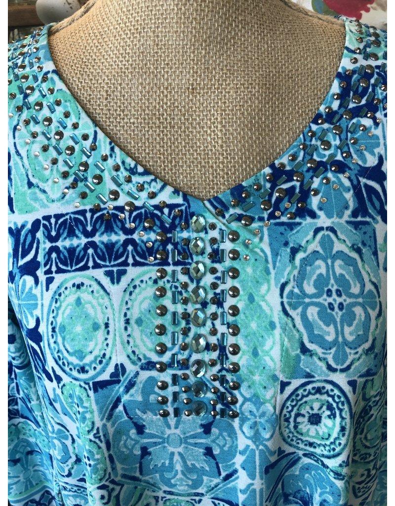 Tile Print V-Neck Top With Jewel Details