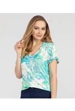 Flutter Sleeve Tropical Print Top
