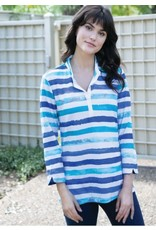 Terry Knit Striped Watercolor Top