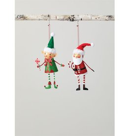 Metal Santa & Elf Ornaments