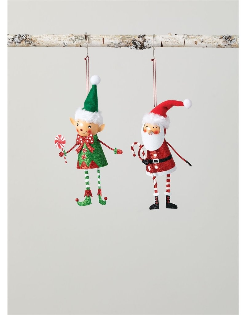 Metal Santa & Elf Ornaments