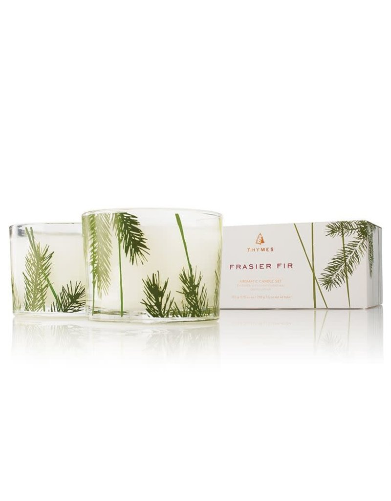 The Thymes Frasier Fir Poured Candle Set, Pine Needle Design