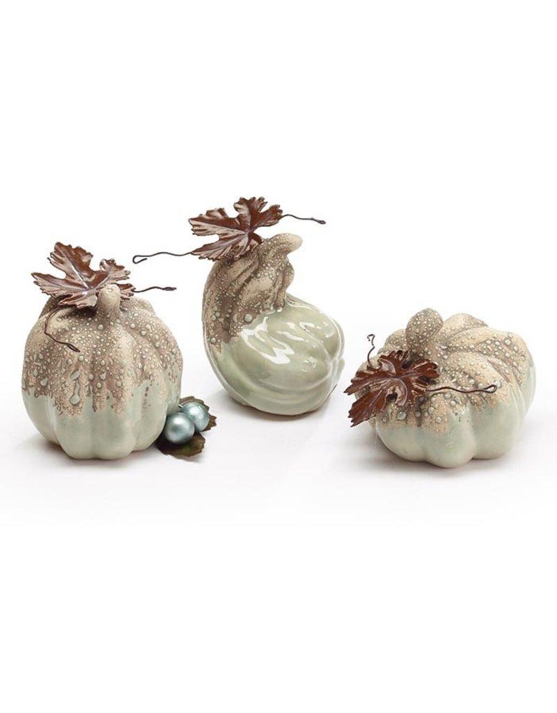Burton & Burton Hand Painted Porcelain Pumpkin With Tin Leaves