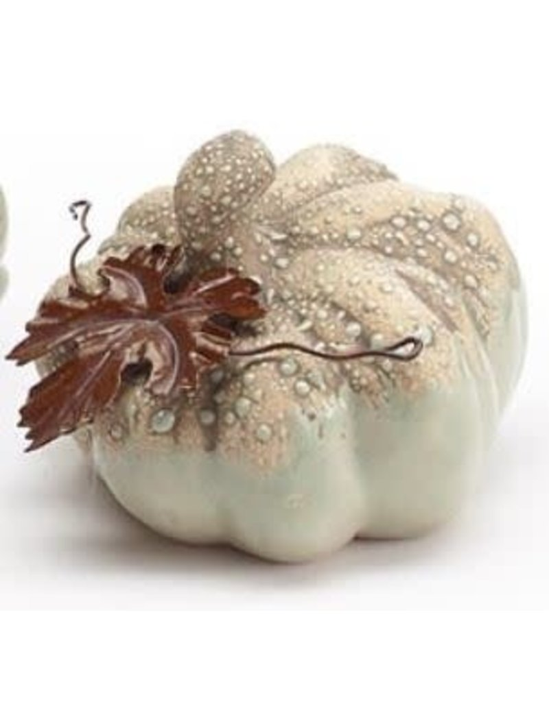 Burton & Burton Hand Painted Porcelain Pumpkin With Tin Leaves