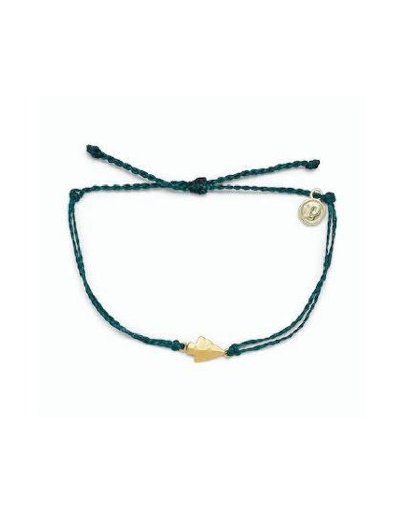 Pura Vida Gold Antique Arrowhead Bracelet, Teal