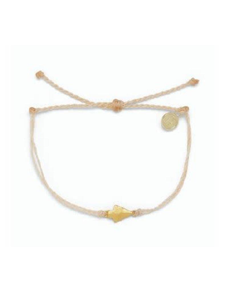 Pura Vida Gold Antique Arrowhead Bracelet, Cream