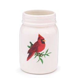 Burton & Burton Cardinal Ceramic Mason Jar Vase
