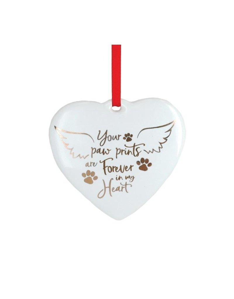 Burton & Burton Paw Prints Forever In My Heart Ornament