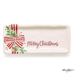 Burton & Burton Merry Christmas Tray With Mistletoe