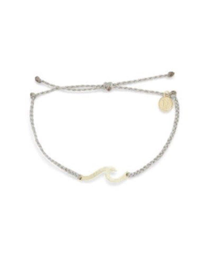 Pura Vida Gold Hammered Wave Bracelet, Light Grey