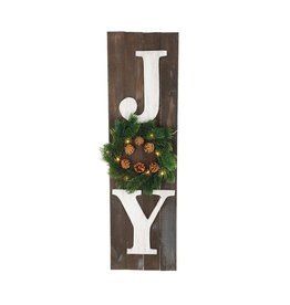 Burton & Burton Joy Porch Sign With Light Up Wreath - STORE PICKUP ONLY