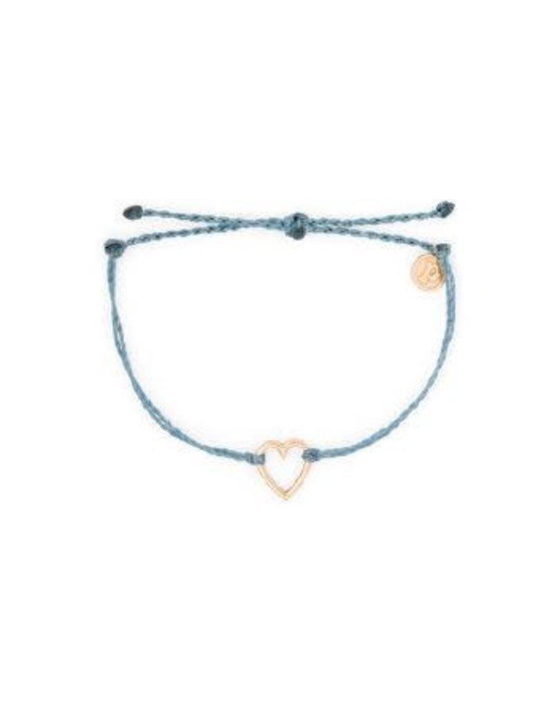 Pura Vida Rose Gold Open Heart Bracelet, Dusty Blue
