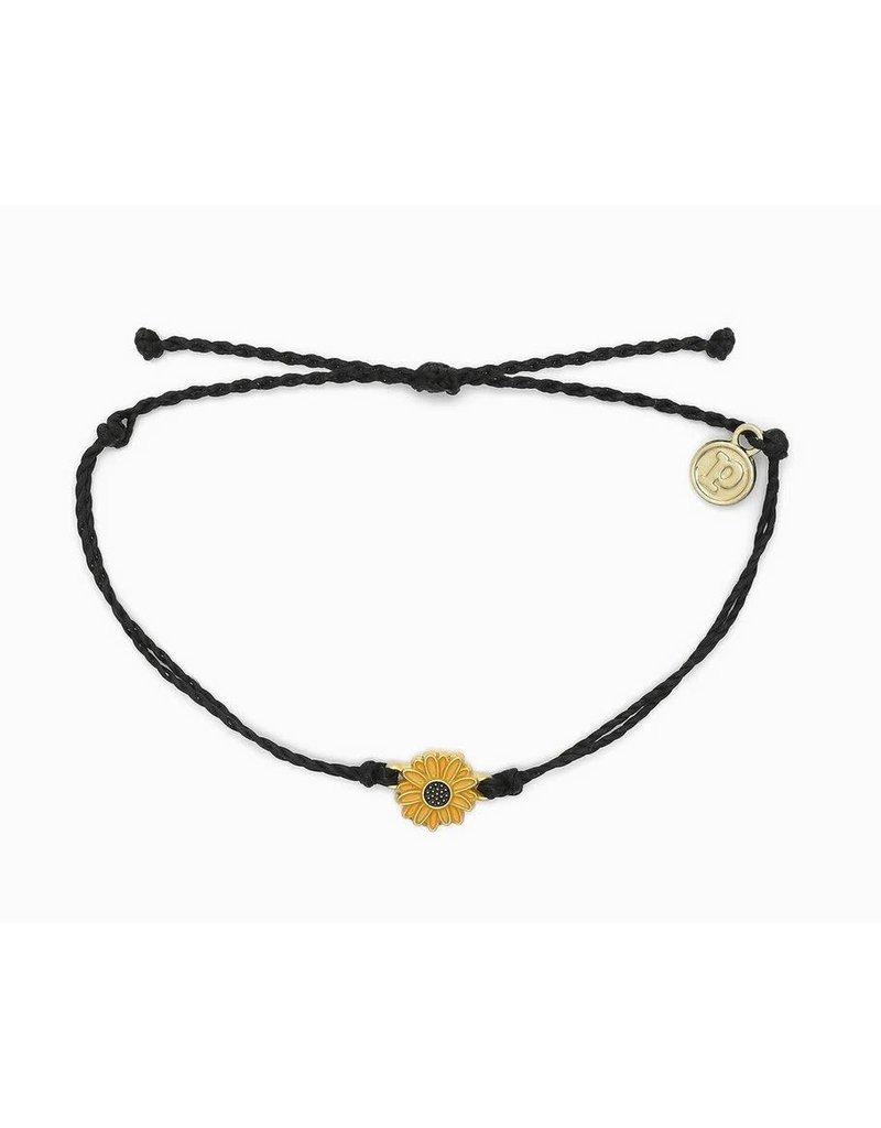 Pura Vida Gold Enamel Sunflower Bracelet, Black