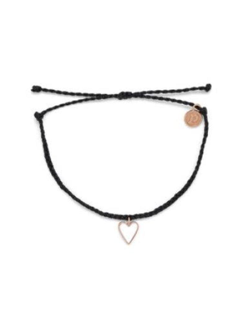 Pura Vida Rose Gold Petite Heart Bracelet, Black