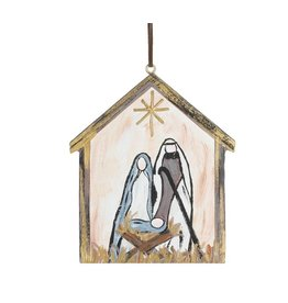 Burton & Burton Hand Painted Nativity Wood Ornament