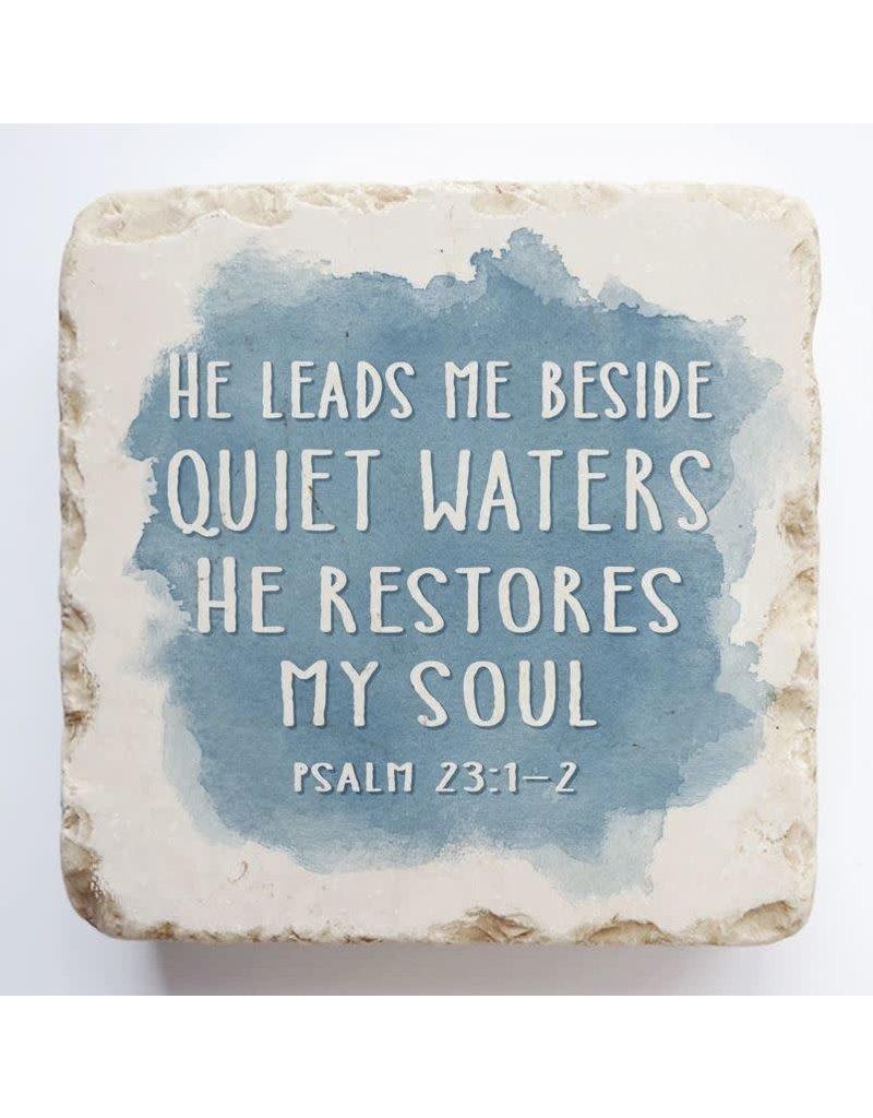 Twelve Stone Art Psalm 23:1-2 Scripture Stone