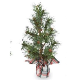 Mud Pie White Tartan Faux Pine Tree