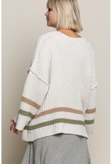 Beige & Olive Stripped Sweater