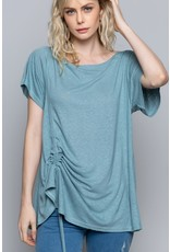 Short Sleeve Top with Adujustable Strap Detail