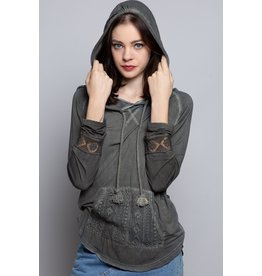 Lace Front Pocket Pullover