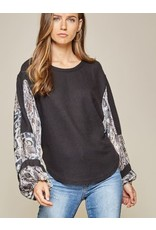 Waffle Top with Leopard Print Balloon Sleeves