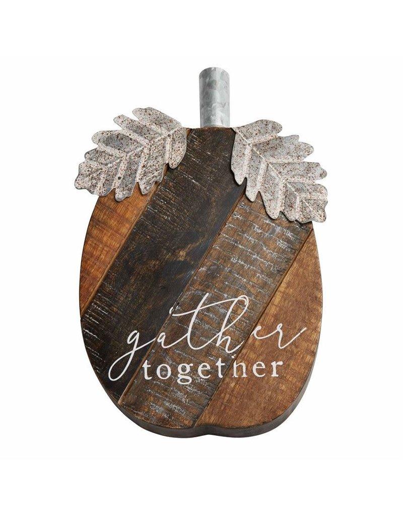 "Mud Pie Large Wood Pumpkin Sitter ""Gather Together"""