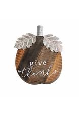 """Mud Pie Medium Wood Pumpkin Sitter """"Give Thanks"""""""