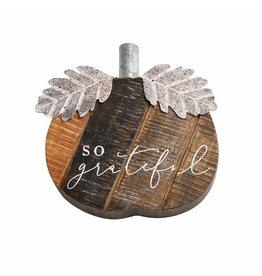 "Mud Pie Small Wood Pumpkin Sitter ""So Grateful"""