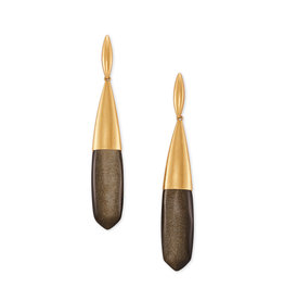 Kendra Scott Freida Linear Earring Vintage Gold Golden Obsidian