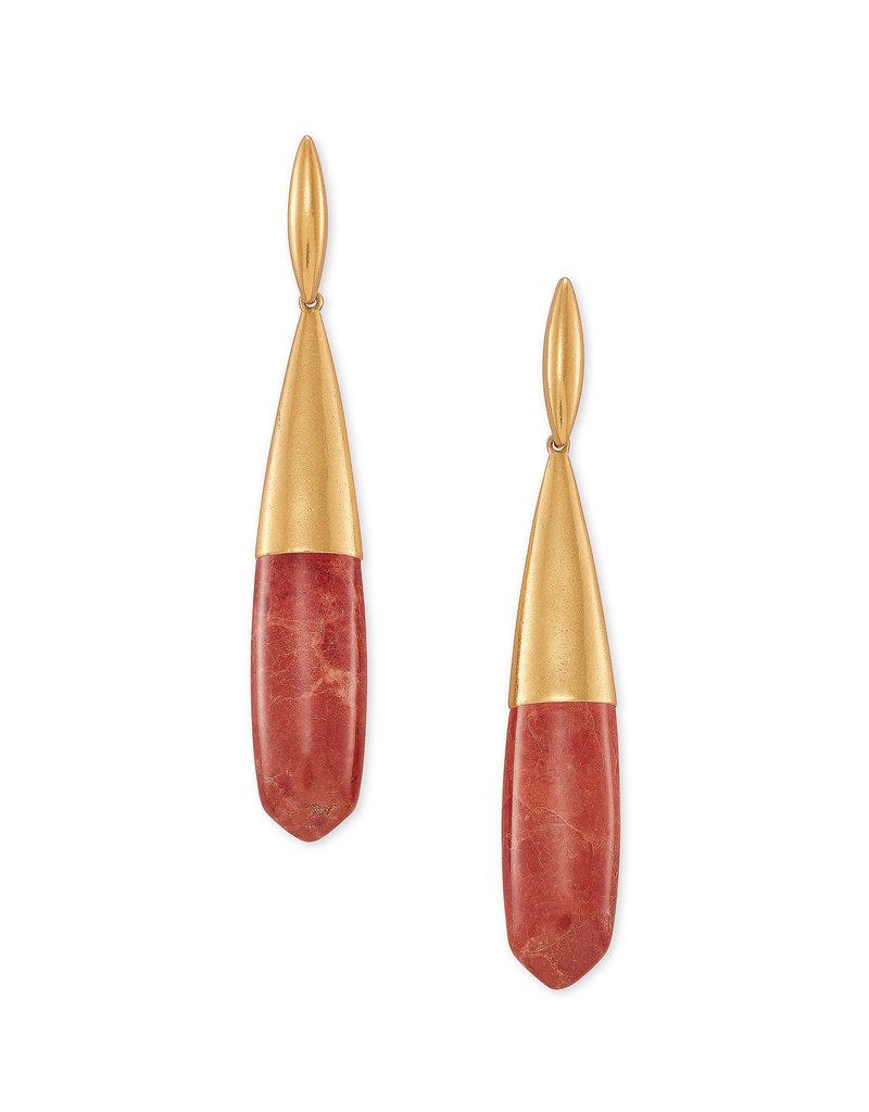 Kendra Scott Freida Linear Earring Vintage Gold Burnt Sienna Howlite