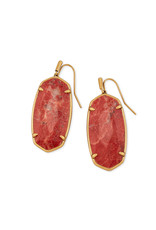 Kendra Scott Faceted Elle Earring Vintage Gold Burnt Sienna Howlite