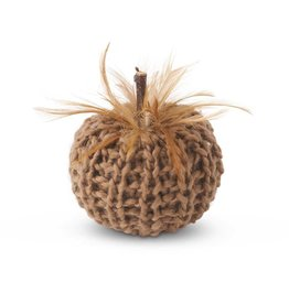 K & K Interiors, Inc. 4 Inch Brown Crochet Pumpkin with Feathers