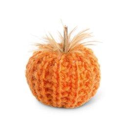 "K & K Interiors, Inc. 4"" Orange Crochet Pumpkin w/ Feathers"