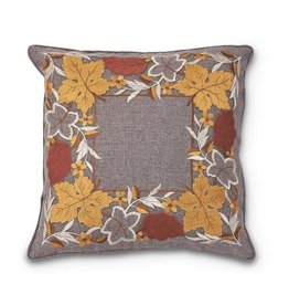 """K & K Interiors, Inc. 17"""" Embroidered Fall Leaves Pillow"""