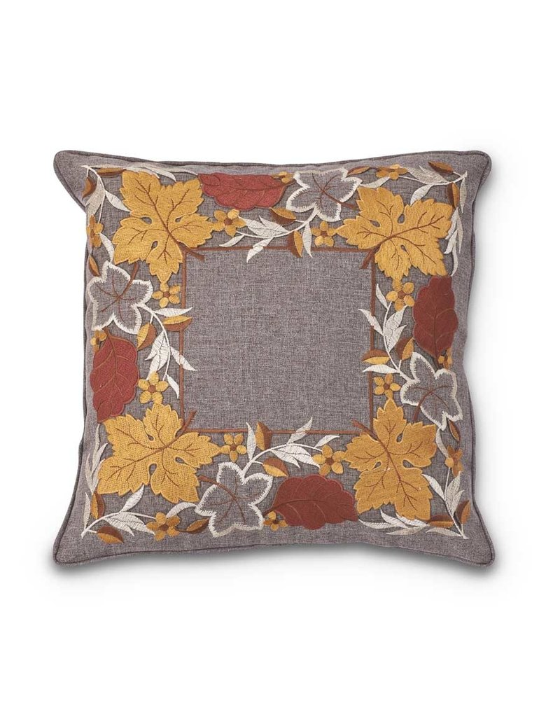 "K & K Interiors, Inc. 17"" Embroidered Fall Leaves Pillow"