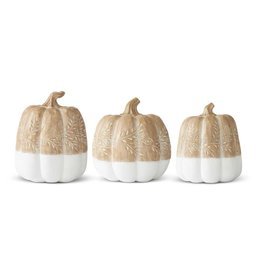 K & K Interiors, Inc. Tan & White Pumpkin with Carved Leaves