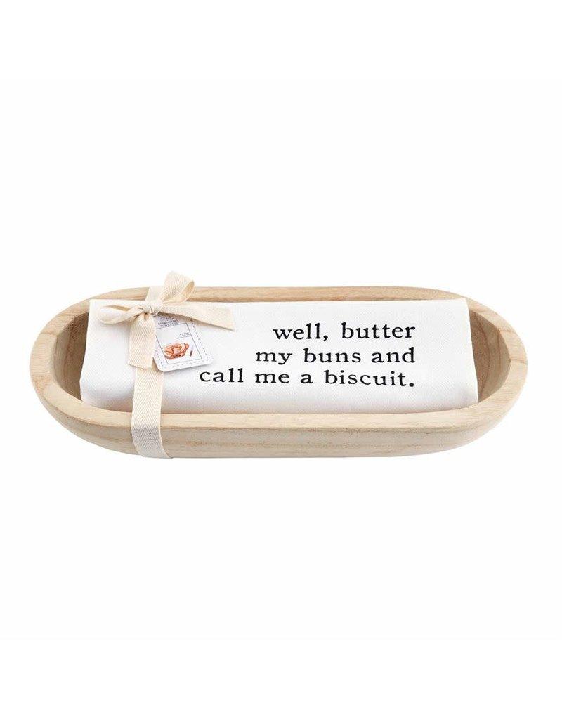 Mud Pie Paulownia Bread Bowl & Towel Set