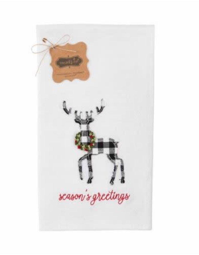 Mud Pie Merry Deer French Knot Towel