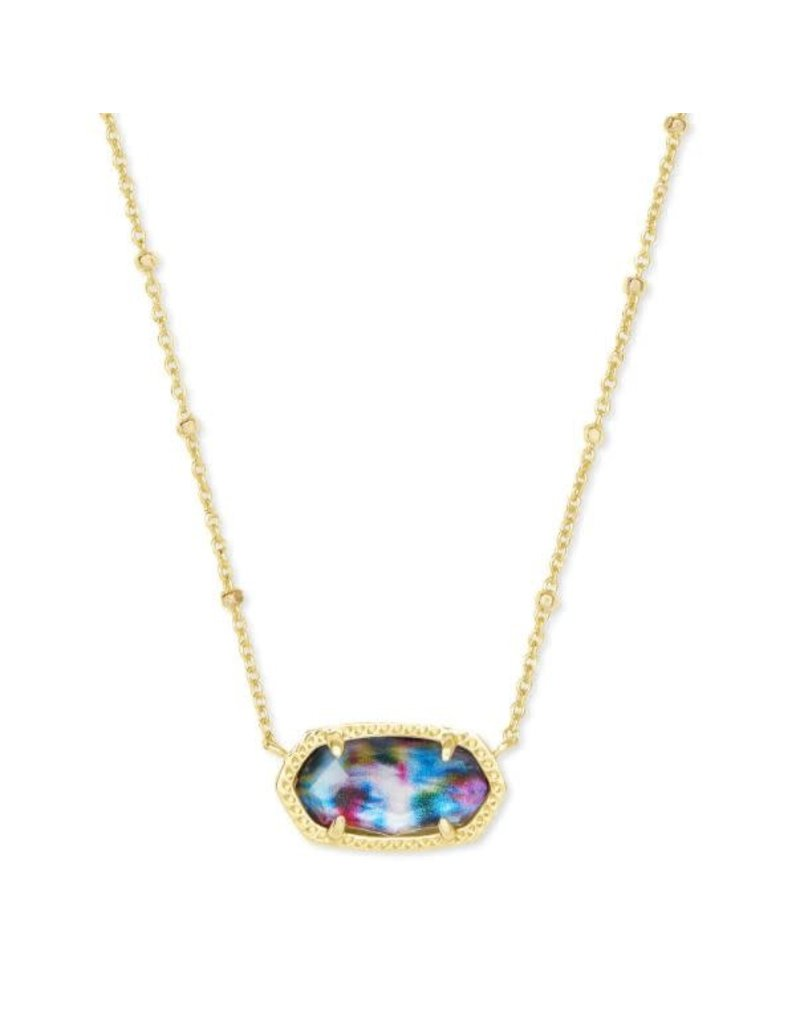 Kendra Scott Elisa Satellite Short Necklace Gold Teal Tie Dye Illusion