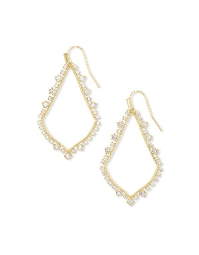 Kendra Scott Pave Sophee Earring Gold White CZ
