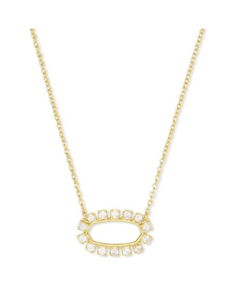 Kendra Scott Elisa Open Necklace Gold White CZ