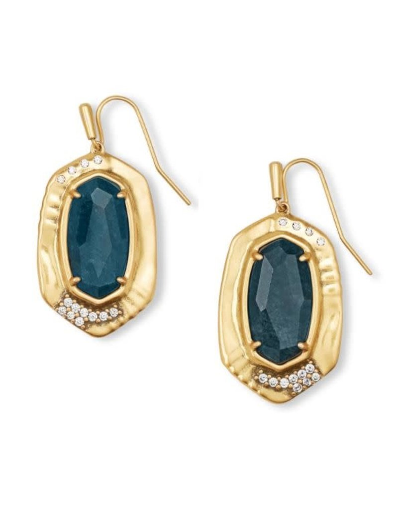 Kendra Scott Anna Drop Earring Vintage Gold Teal Apatite