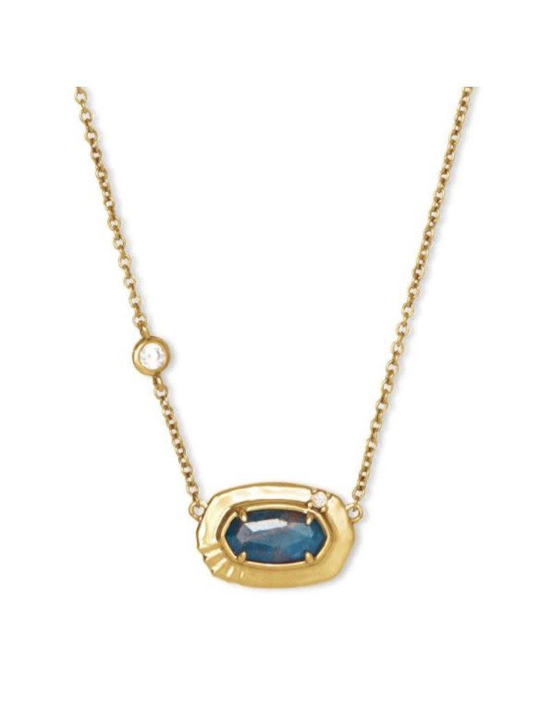 Kendra Scott Anna Short Necklace Vintage Gold Teal Apatite