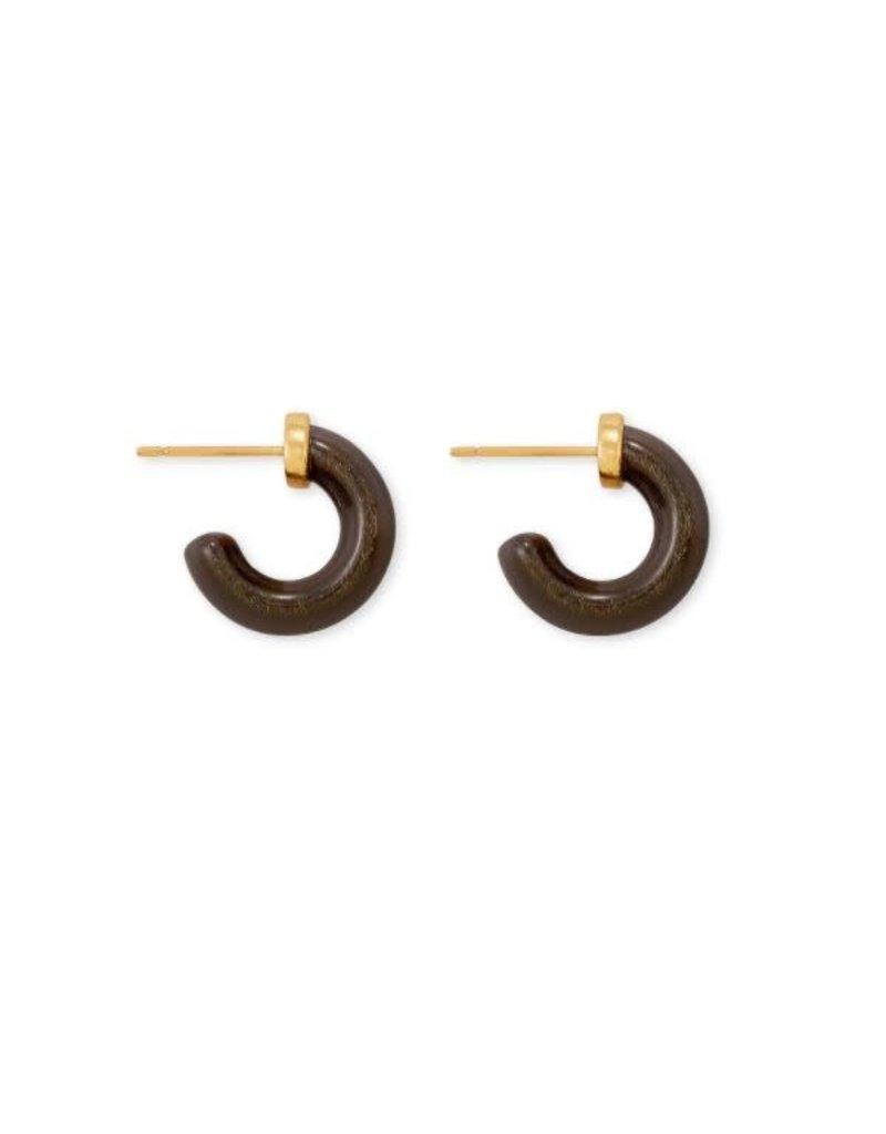 Kendra Scott Mikki Huggie Earring Vintage Gold Golden Obsidian
